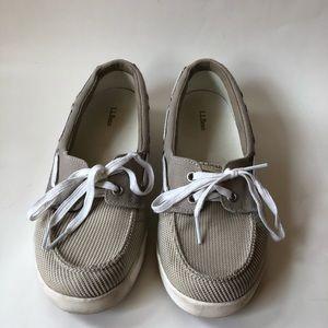 LL Bean Womens Boat Shoes Canvas Tan 9.5